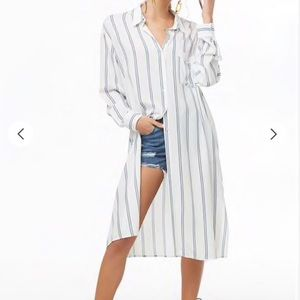 Forever 21 Striped Longline Shirt